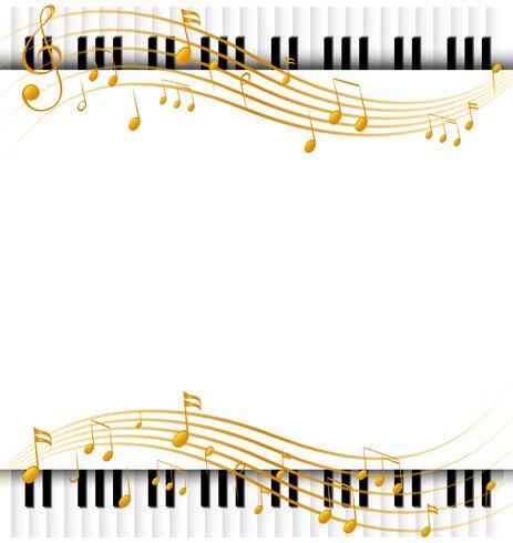 Plantilla de borde con teclados de piano y notas musicales