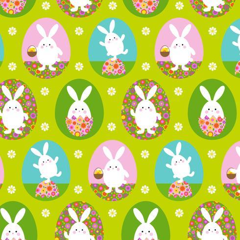 Lindo patrón de conejito de Pascua en fondo verde