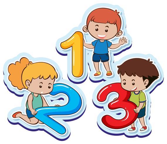 Lyckliga barn med nummer ett två tre vektor