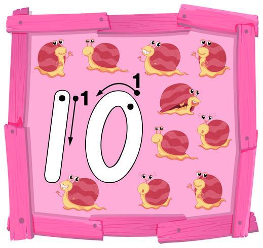 Nummer tio på träbanner
