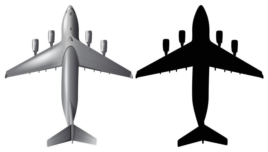 Design de avião com silhueta em fundo branco