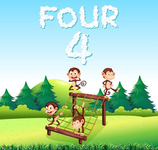 Cuatro monos en el patio