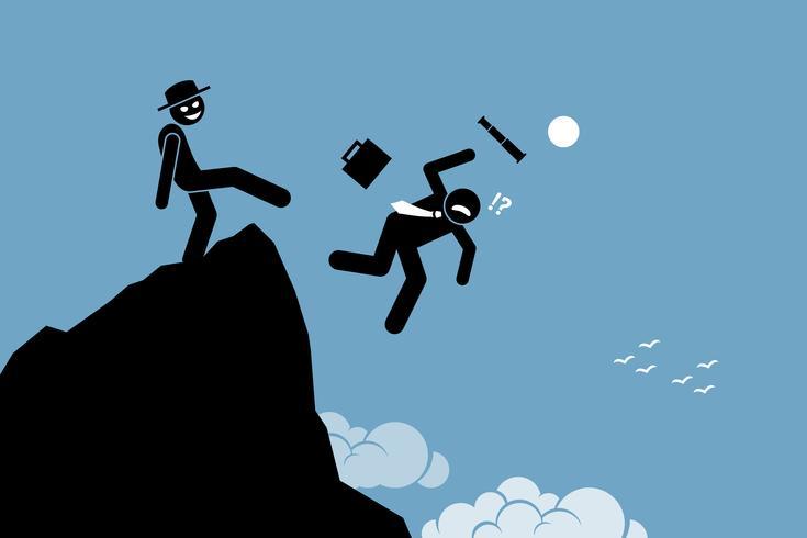Homem malvado chutando seu parceiro de negócios do topo da colina.