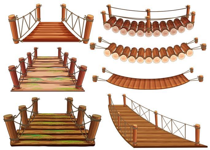 Wooden bridges in different designs