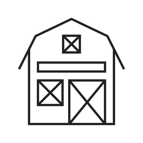 Ligne grange icône noire vecteur