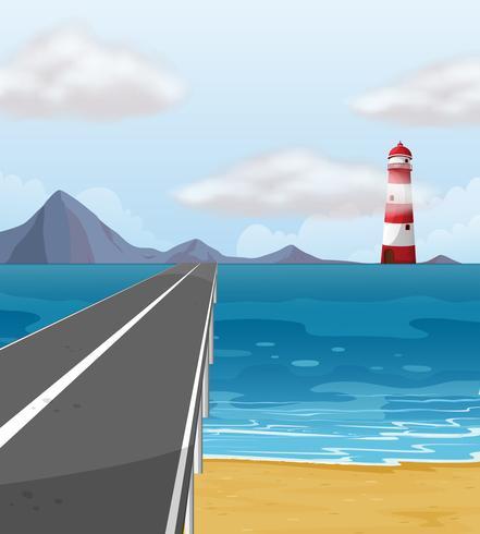 Estrada vazia através do oceano
