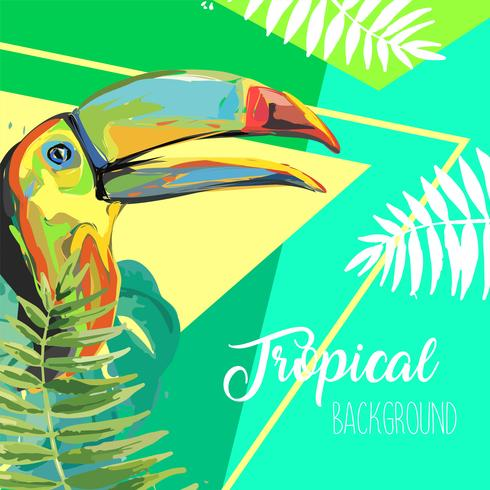 Banner di foglie tropicali e Tucano estate. vettore