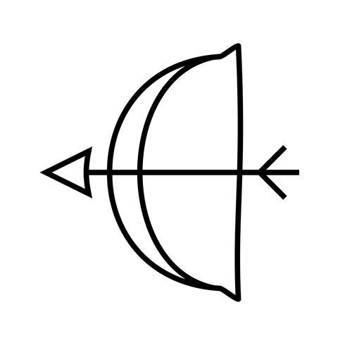 Linha de tiro com arco preto ícone