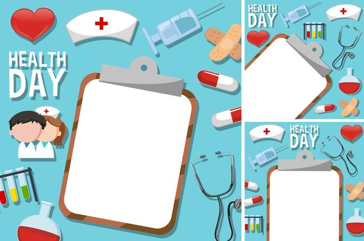 Cartaz do dia de saúde com elementos médicos