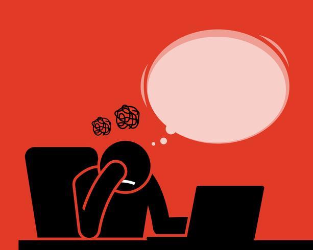 Homme se sentant fatigué et déçu après avoir vu et lu des nouvelles, des articles et des résultats de l'ordinateur avec Internet.