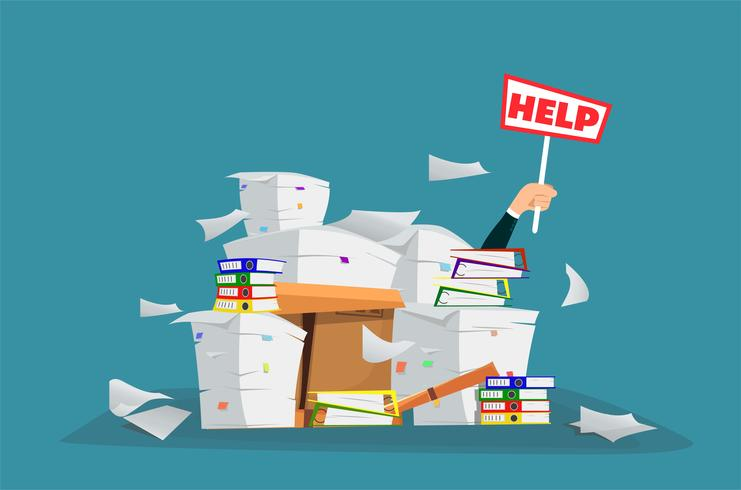 Businessman in pile of office papers and documents with help sign. vector