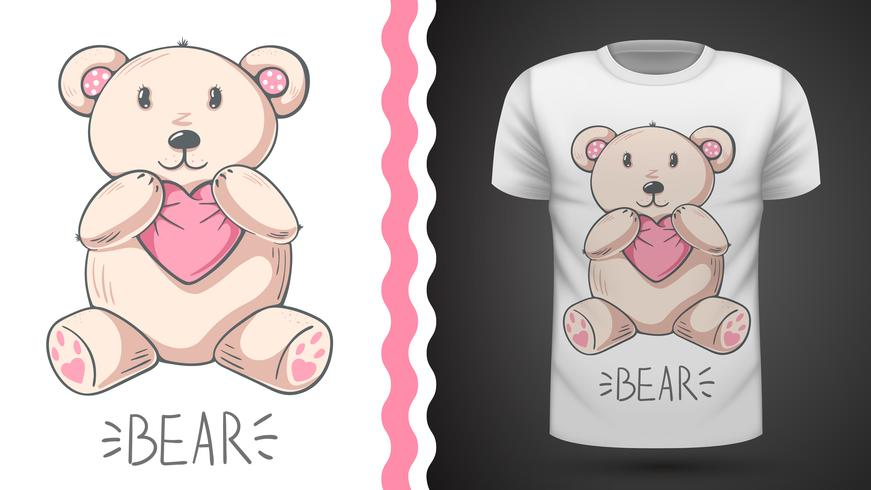 Urso bonito - idéia para impressão t-shirt. vetor