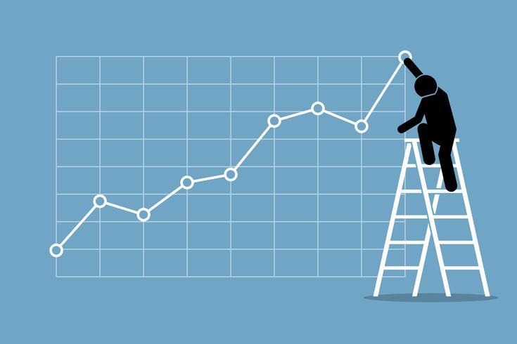 Geschäftsmann, der oben auf einer Leiter klettert, um ein Aufwärtstrenddiagramm auf einer Wand einzustellen.