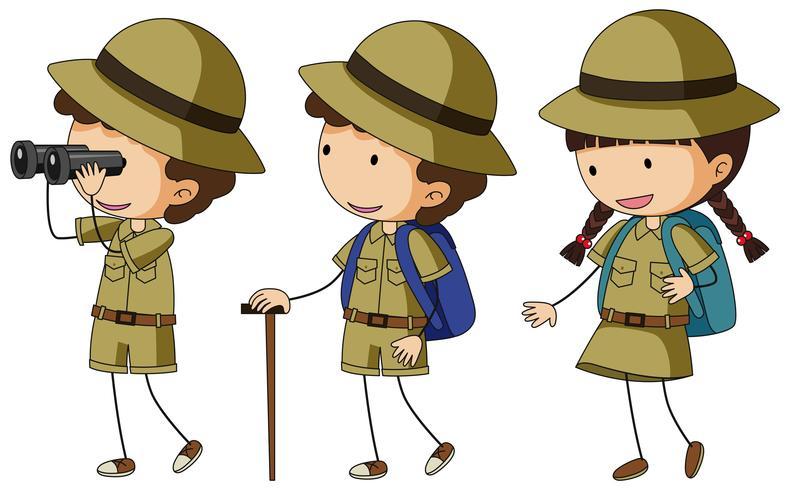 Tre barn i scout uniform