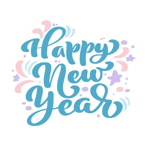 Gelukkige Nieuwjaar blauwe uitstekende kalligrafie die vectortekst van letters voorzien. Voor kunstsjabloon ontwerp lijstpagina, mockup brochure stijl, banner idee omslag, boekje print flyer, poster