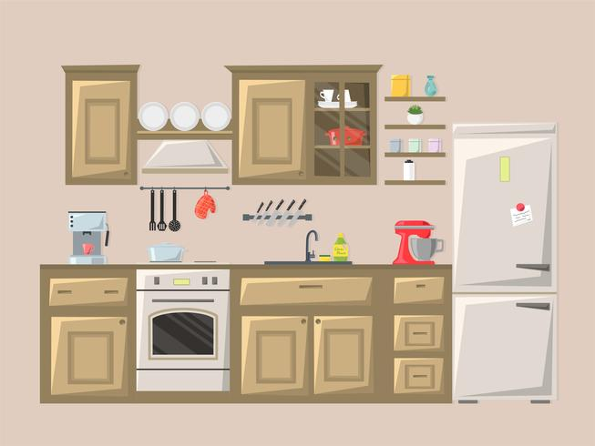 Kitchen interior. Vector illustration.