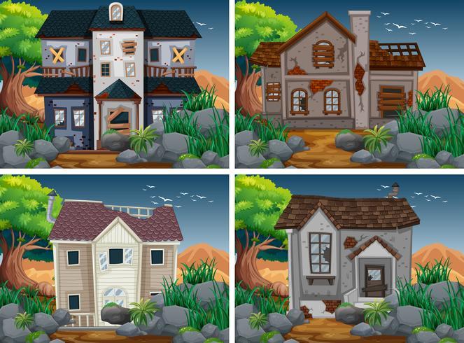 Fyra scener med förstörda och hemsökta hus vektor
