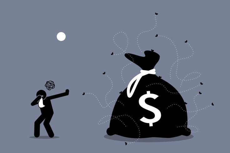 Man schließt seine Nase und weist schmutziges und stinkendes Geld zurück, das von Fliegen umgeben ist.