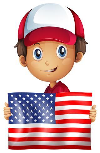 Niño feliz con la bandera de América