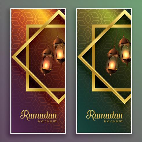 increíbles pancartas de Ramadán Kareem con lámparas colgantes