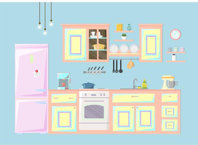 Intérieur de la cuisine. Illustration vectorielle vecteur