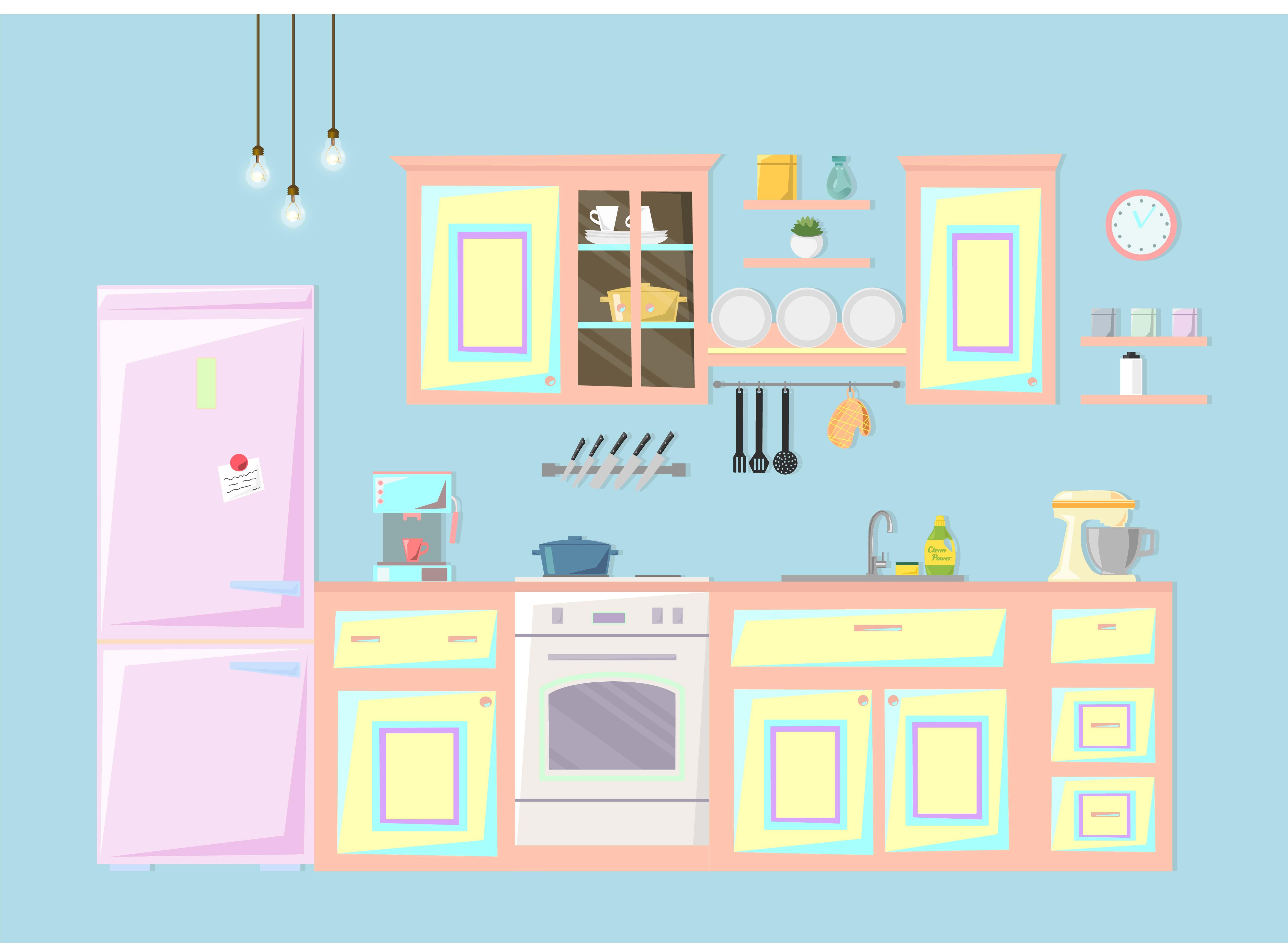 Kitchen Interior Vector Illustration Download Free