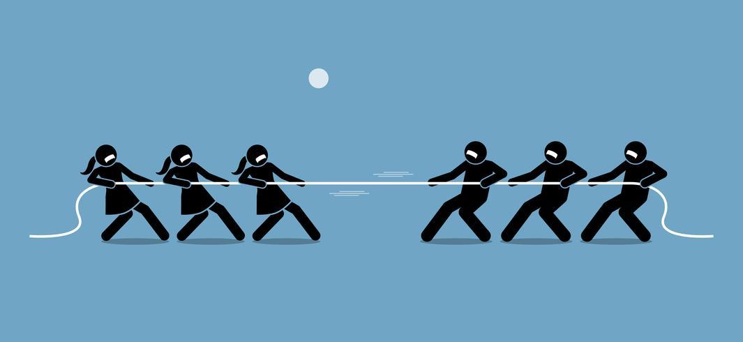 Hombre vs mujer en tira y afloja. vector