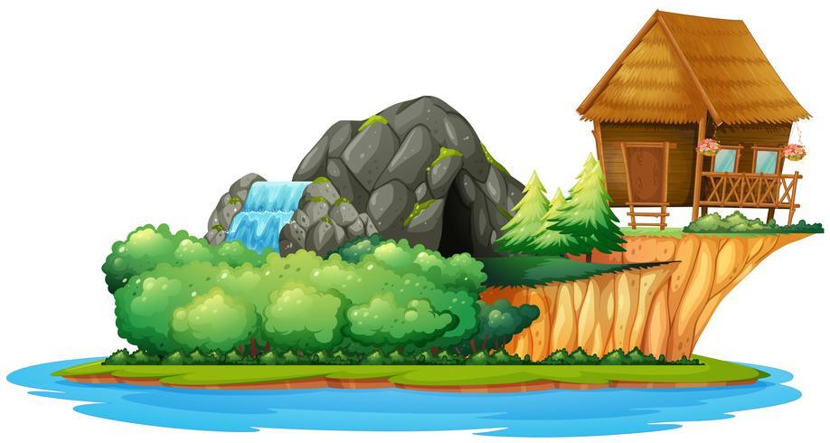 Scen med stuga på ön