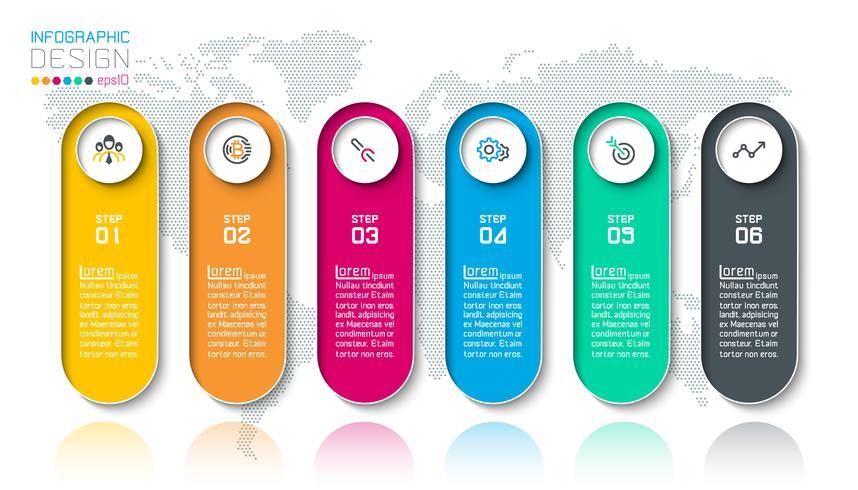 Strecketiketter infografiska med 6 steg.