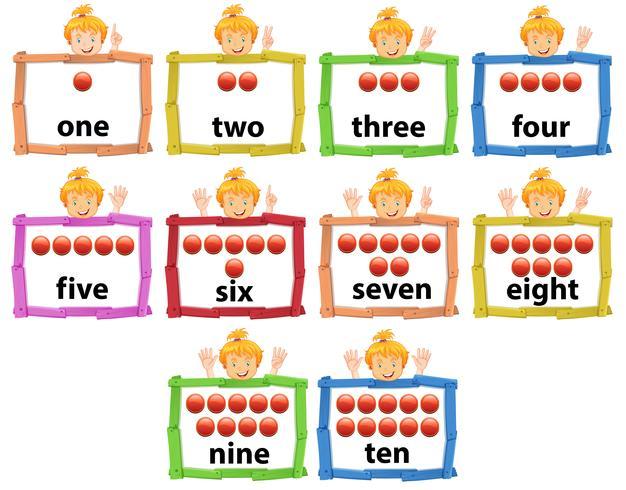 Set Mädchen mit der Nummer von eins bis zehn Banner