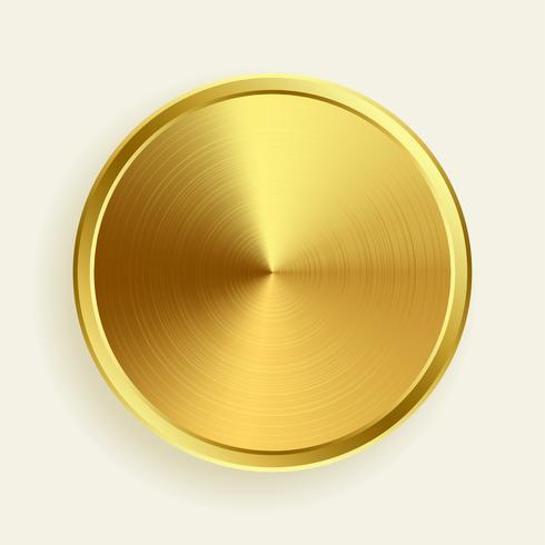 realistischer goldmetallischer knopf in gebürsteter oberflächenstruktur