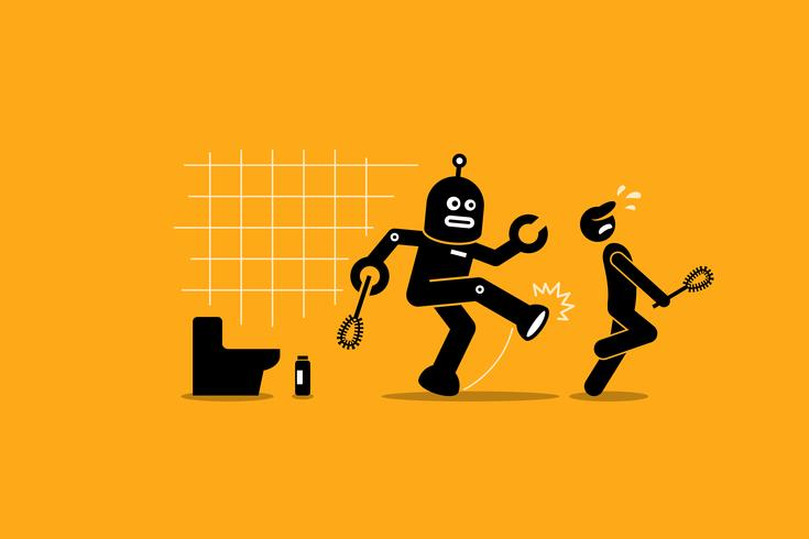 Robot cleaner kicks away a human janitor worker from doing his cleaning job at toilet. vector