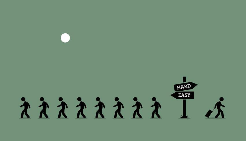 El camino menos transitado. vector
