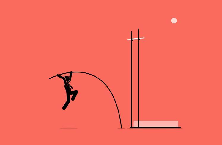Zakenman die polsstokspringen doet. vector