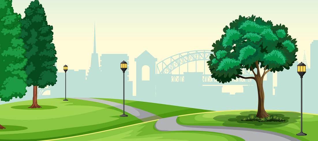 Uma paisagem de parque urbano da natureza