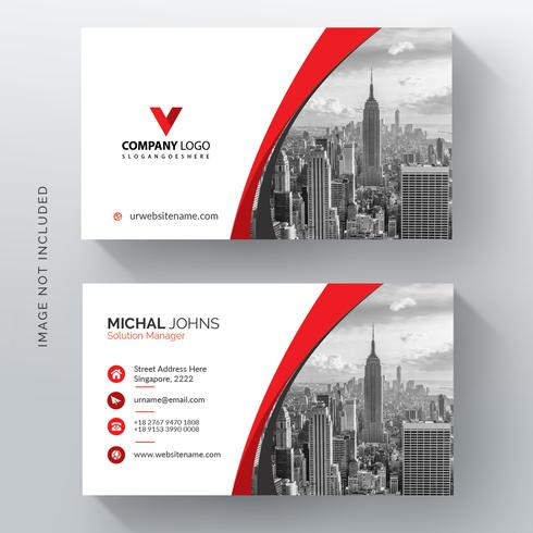 Red shape visit card with photo city vector