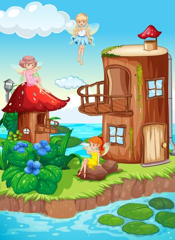 Magic fairy world in nature vector