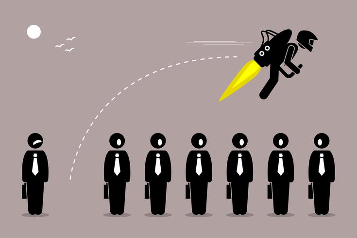Businessman flying away with a jetpack from his colleague.
