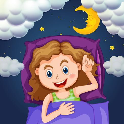 Meisje in paars bed 's nachts