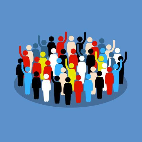 Pessoas na multidão, levantando a mão para mostrar apoio e voto.