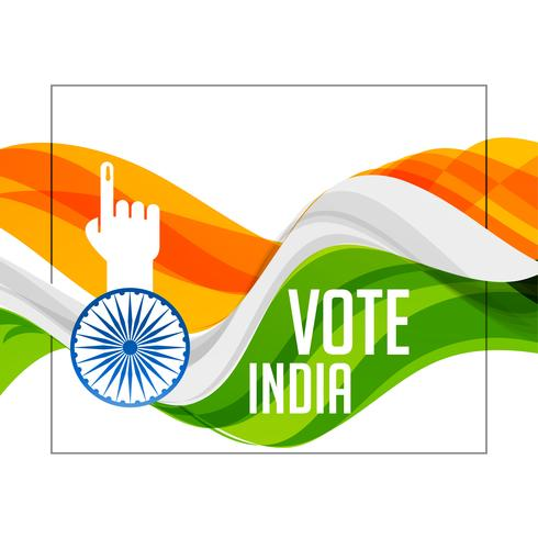 tri color indian flag with voting hand