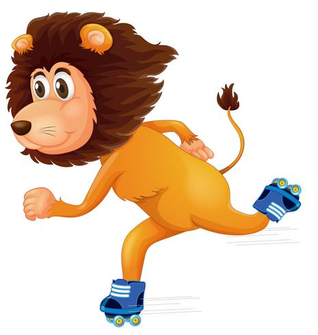 A lion ice skating vector