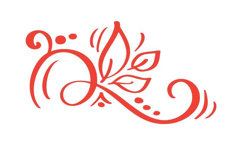 Handdragen Floral Autumn Design Elements isolerad på vit bakgrund för retro design. Vektor kalligrafi och bokstäver illustration