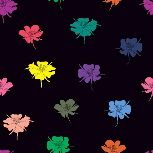Colorful doodle flowers seamless background.