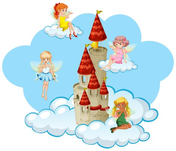 Many fairies flying around the tower