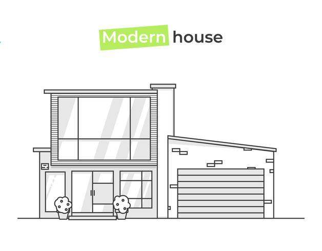 Casas elegantes modernas no ícone de arte linha. Conceito de design uma casa. Ilustração vetorial plana