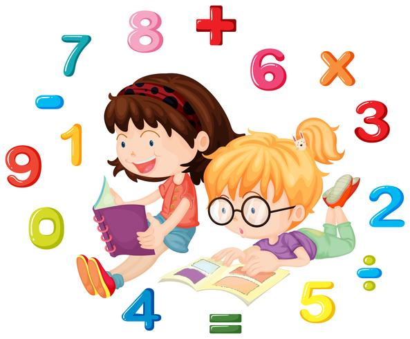 Dos niñas leyendo un libro de matemáticas