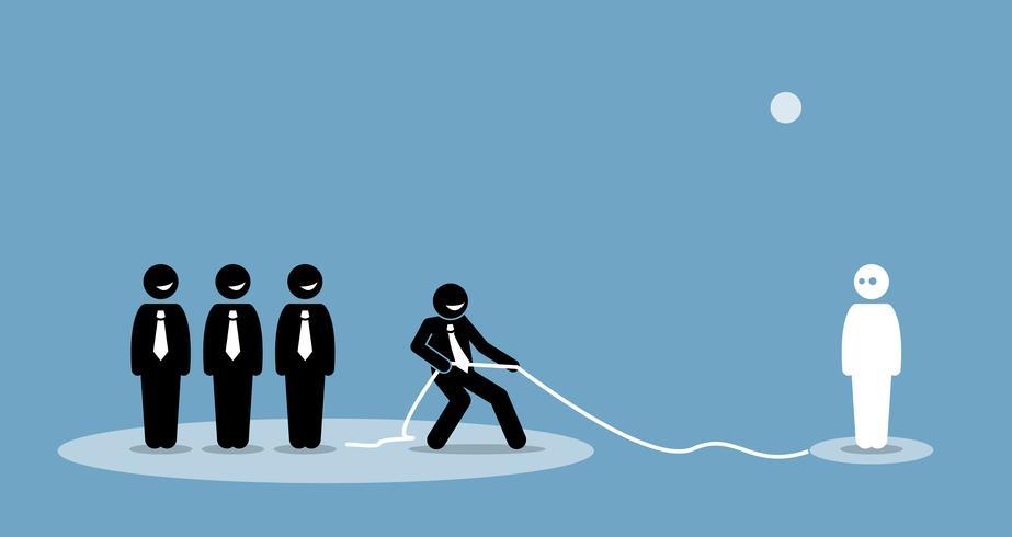 Affärsman drar anslutning och talang att gå med i sitt företagsteam.