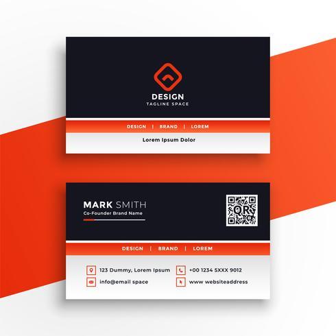 elegante design professionale biglietto da visita arancione