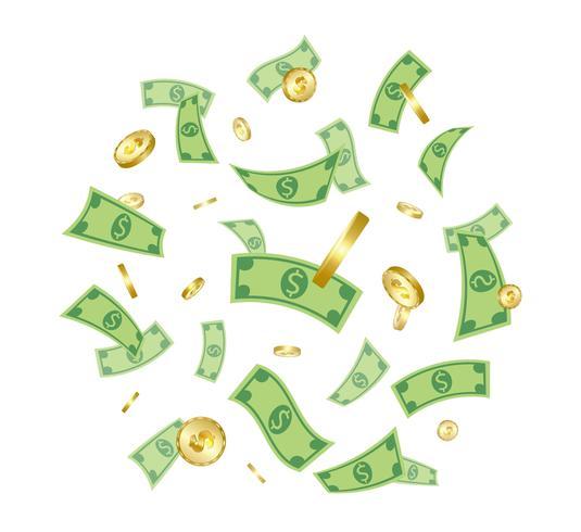 Geld, das von oben getrennt auf weißem Hintergrund fällt.